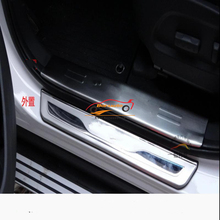 Car Accessories Styling For Hyundai Santa Fe Stainless Steel Door Sill Scuff Plate Santafe Door Sills Trim Car Sticker 2013 2015