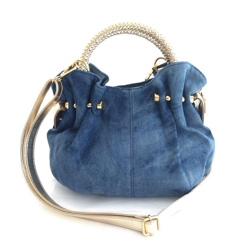 Image 4 - iPinee Luxury Women Demin Handbag Women Messenger Bag Female  Jeans Shoulder Bag Womens Rivet Bags sac a mainsac ahandbag  womenrivet bag