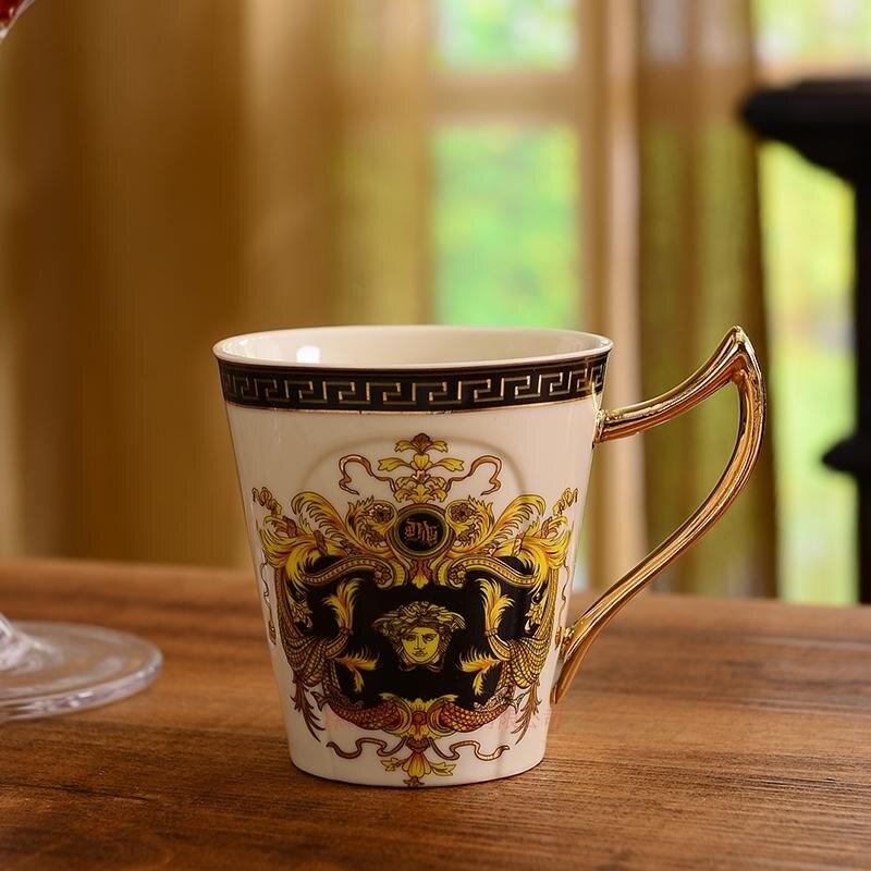 Позолоченные Кофейные Наборы чашек костяного фарфора/8 шт чайных чашек керамические. 1 чайник и 6 чашек - 3