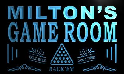 x0210-tm Miltons Billiards Game Room Custom Personalized Name Neon Sign Wholesale Dropshipping On/Off Switch 7 Colors DHL