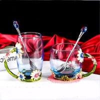 Luxury Enameled Crystal Glass Tea Cup come with Spoon Tea Milk Mug Gift Box Package Wedding Gifts 330ml 350ml DEC194
