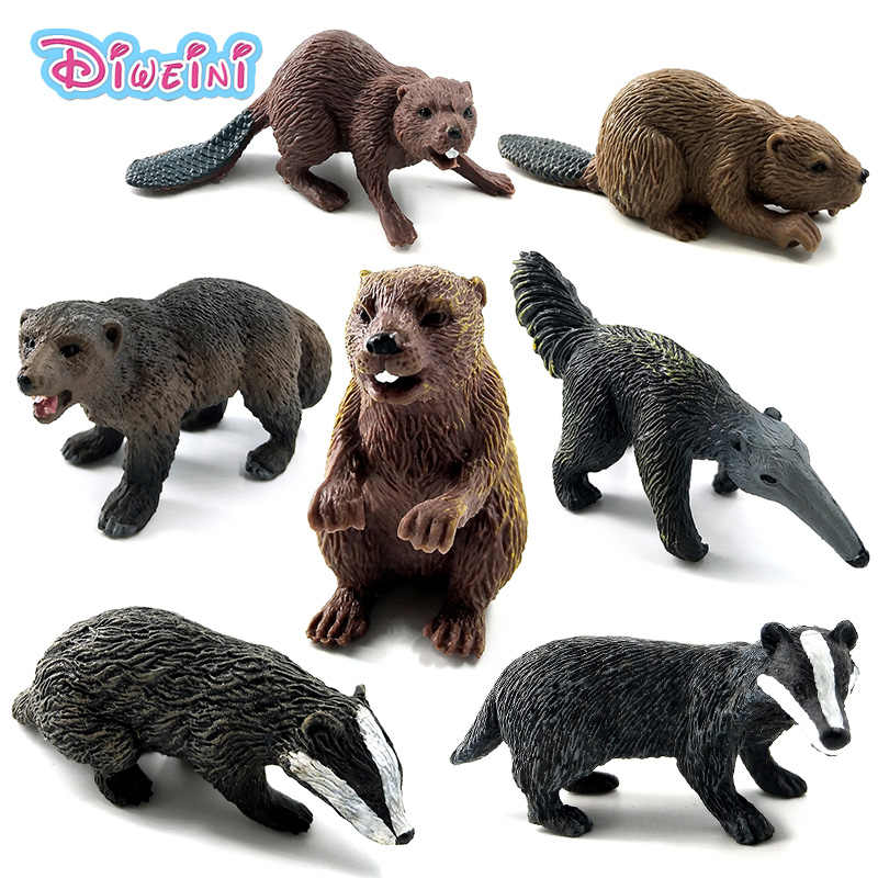 Simulation forest wild animal model one piece Badger Wolverine Anteater Beaver Bear action figure PVC toy figurine Gift For Kids