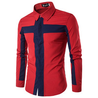 Hot Spring And Autumn Patchwork Men S Long Sleeve Shirt Men Dress Slim Fit Shirt Social