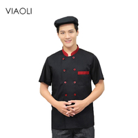 Viaoli Quality Chef Working Uniform Clothing Long Sleeve Men Food Services Cooking Clothes JacketsCoat Uniform Hotel