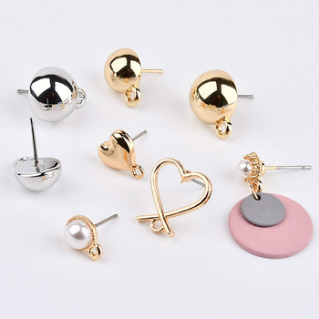 DIY self-made ear jewelry materials, alloy cross peach heart Pearl Plastic semi round Ear Studs Earrings accessories цена 2017