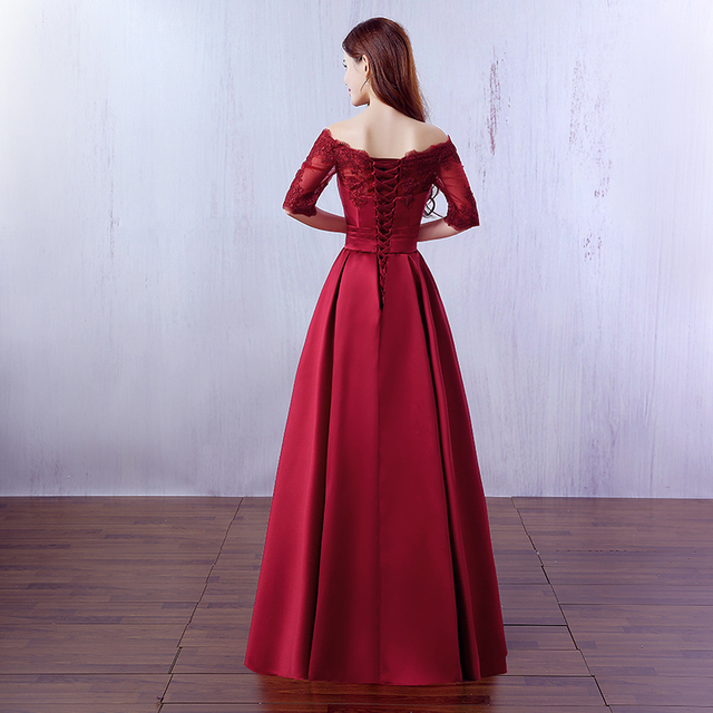Beauty Emily Elegant Wine Red Long Evening Dresses 2019 Lace Pocket Satin Custom Made Women Party Prom Dresses Robe De Soiree 1