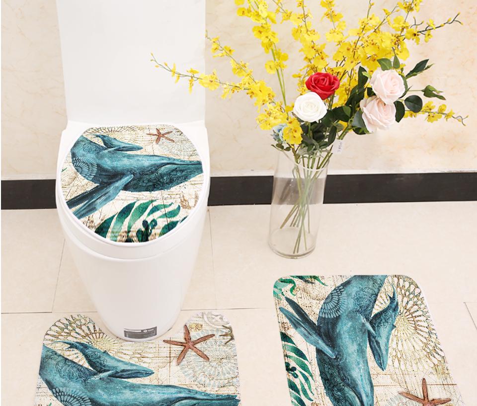 Waterproof Seahorse Turtle Octopus Shower Curtain Bath Mat Carpet Toilet Cover