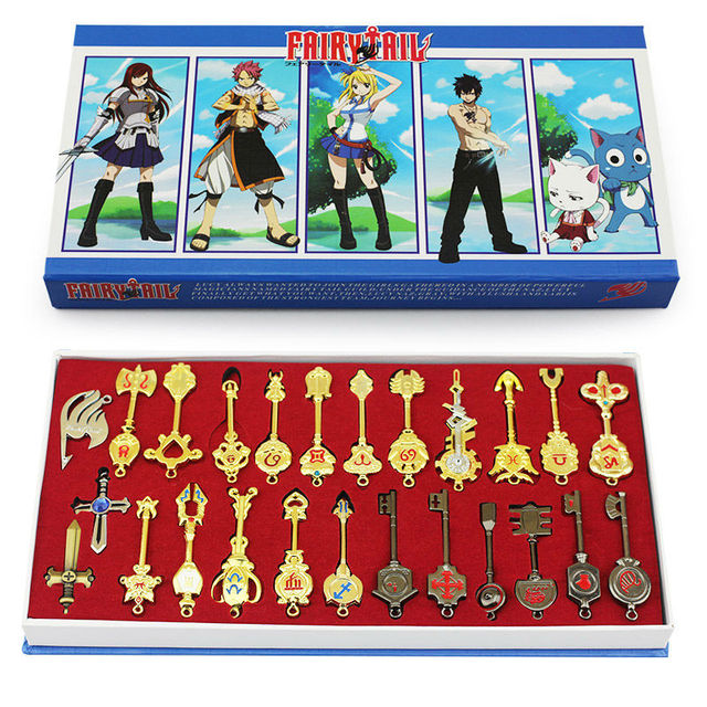 25ชิ้น/เซ็ต6Cm Fairy Tail Lucy Cosplay KeyพวงกุญแจScale & สีชมพูฟรีTattoo Heartfiliaเข้าสู่ระบบราศีกุญแจทอง