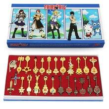 25 sztuk/zestaw 6cm Fairy Tail Lucy Cosplay klucz brelok skala i bezpłatny różowy tatuaż Heartfilia znak zodiaku złoty klucz