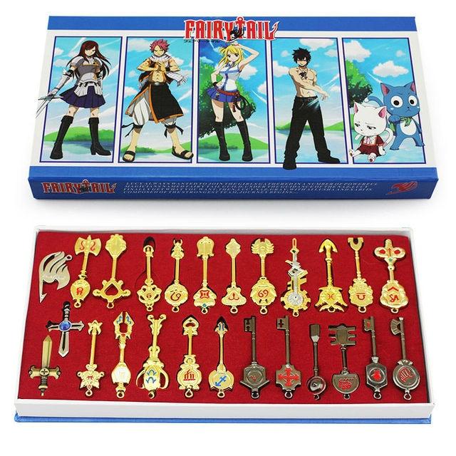 25pcs/set 6cm Fairy Tail Lucy Cosplay Key Keychain Scale & Free Pink Tattoo Heartfilia sign of the zodiac gold Key