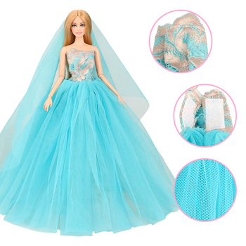 New fashion Beautiful handmade 2 Items/set doll accessory party evening Wedding dresses For barbie Game dressing up DIY Present page turners 2 beautiful game