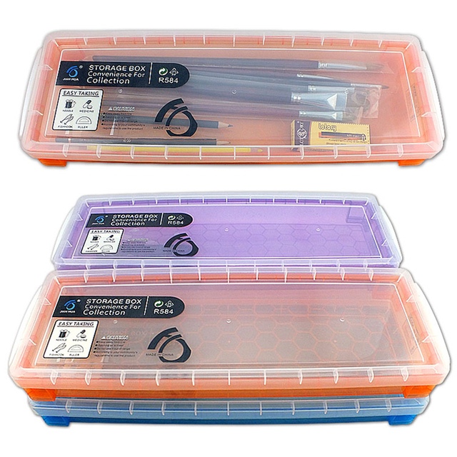 JianHua Large Paint Brush Storage Box Transparent Window Pencil Case 390*135*45 mm Painting Supplies