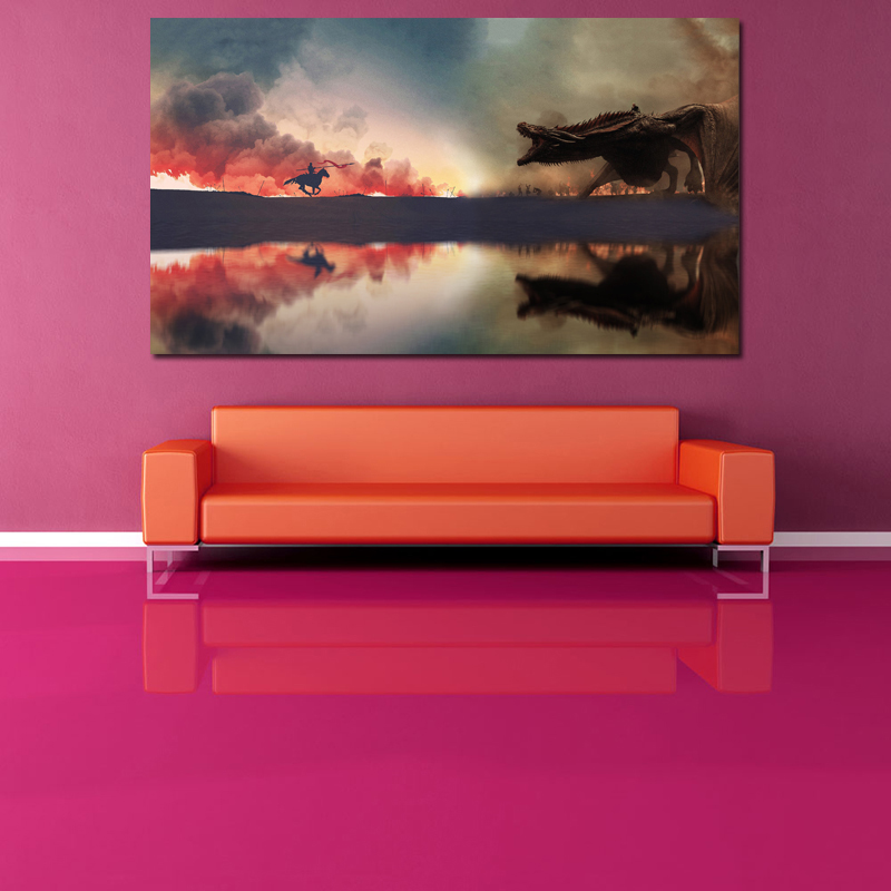 Image 2 - Fighting Game Of Thrones Art Canvas Posters Oil Painting Wall Pictures Prints Artwork Modern Home Bedroom Decoration Accessories-in Painting & Calligraphy from Home & Garden