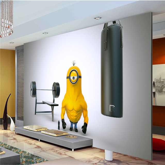 Funny Muscle Minion Photo Wallpaper Custom Wall Mural Cartoon Wallpaper Kid  Room Decor Wall Art Kid Bedroom Living Room Home Art