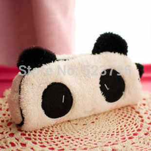 Cute Suave Panda Plush Lápis Pen Card Case Cosméticos Notebook Makeup Bag Pouch