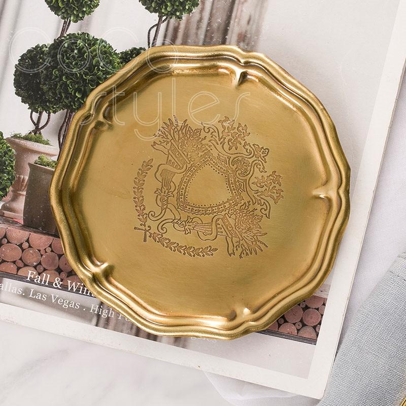 Cocostyles InsFashion haut de gamme fait main rond à usage multiple 6 pièces en laiton plateau pour européen de luxe de style américain décor à la maison