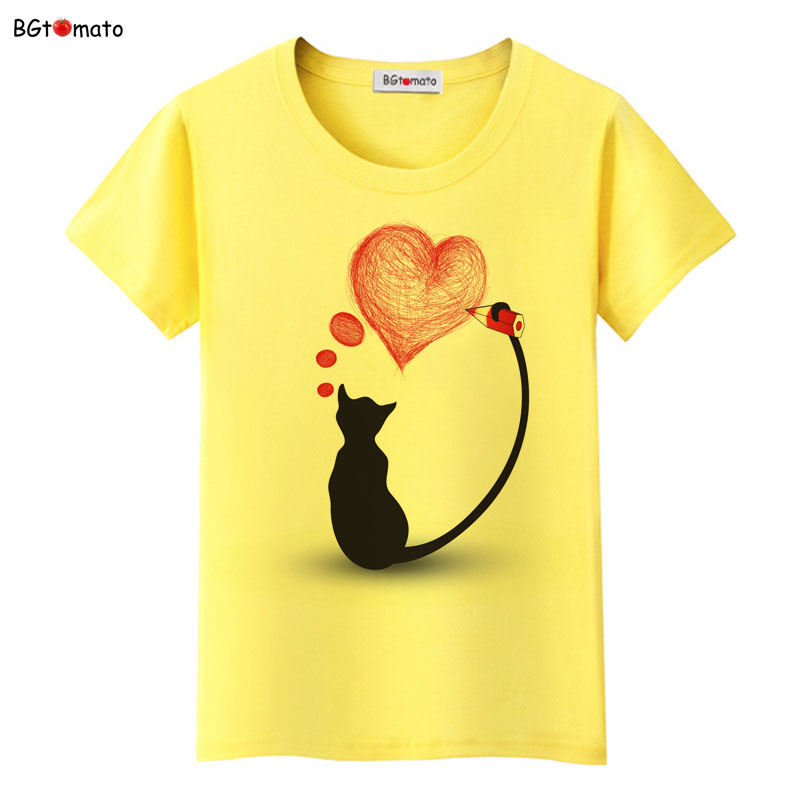 bgtomato Black cat pink love t-shirt women love story Literature and art shirts Good quality brand clothes casual tops