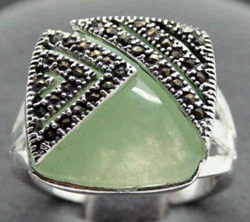 จัดส่งฟรีสุภาพสตรีแฟชั่น14*15มิลลิเมตร925ซิลเวอร์สแควร์แสงธรรมชาติสีเขียวแมกกาไซด์แหวนขนาด7/8/9/10