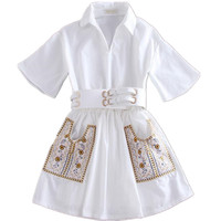 new temperament ladies embroidery shirt short sleeved white dress with belt