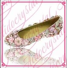 Aidocrystal Diamond rhinestone flower women shoes pink crystal women flat sole pointed toe dress shoes wedding shoes