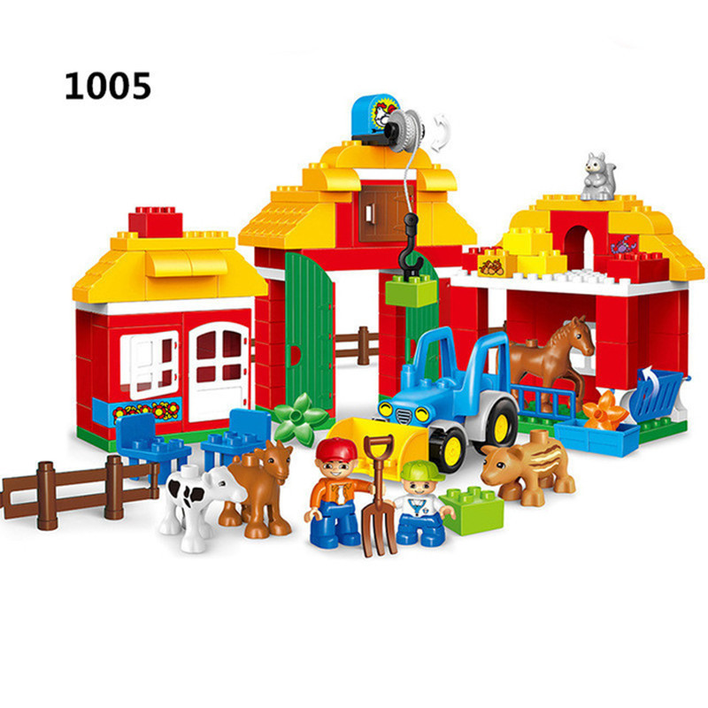 123pcs Big Size Diy Brick Happy Farm Zoo Animals Hobbies Blocks Set Compatible With L Brand Duplo Toys For Children Brinquedos kid s home toys large particles happy farm animals paradise model building blocks large size diy brick toy compatible with duplo