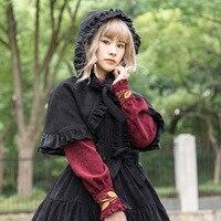 Women's Lolita Hooded Cape Coat Ruffled Cloak Poncho