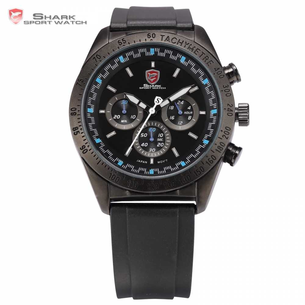 SHARK Sport Watch Tag 6 Hands Auto Date Day Display  Black Blue Brand Military Relogio  Men Wristwatches Quartz Watch / SH275