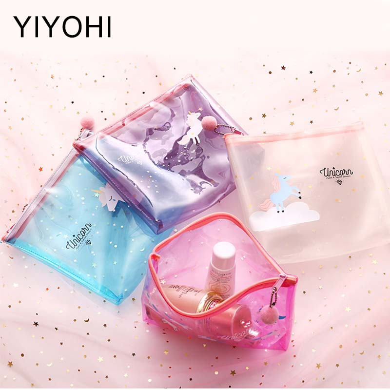 New Cute Unicorn Transparent Women Cosmetic Bags Travel Organizer Necessary Beauty Case PVC Toiletry Bags Makeup Bag Bath Wash unicorn 3d printing fashion makeup bag maleta de maquiagem cosmetic bag necessaire bags organizer party neceser maquillaje