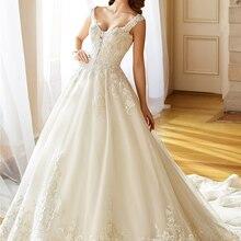 wei yin weiyin Custom Made Long V Neck A Line Wedding Dress