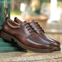 QYFCIOUFU New Fashion Mens Lace-Up Oxfords Dress Shoes Genuine Leather Business Office Wedding Flats Man Vintage