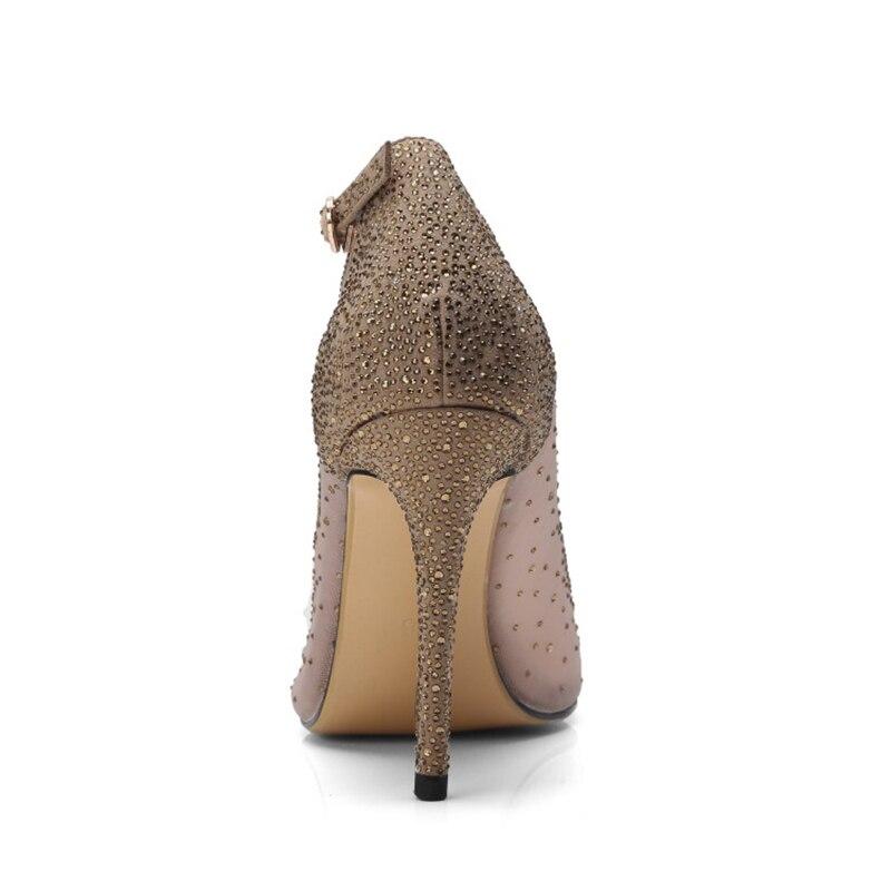 Pumpen 10 Sommer Schuhe Pumps Sexy Yifsion Neue Peep Wunderschöne Pink Nizza 5 Heel Rosa Toe 5 High Uns Hochzeit Kristall Frauen Thin Größe D0689 qEaRnntx