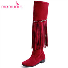 MEMUNIA Large size 34-43 over the knee boots fashion retro flock spring autumn shoes woman long boots tassel solid