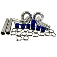 3 76mm UNIVERSAL ALUMINUM INTERCOOLER TURBO PIPE PIPING HOSE KIT 16x Clamp