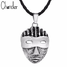 Chandler Silver Bronze Plated Punk Mask Head Pendant Necklaces Women Vintage Rope Chain Colier For Female Mens Classic Jewelry