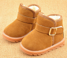 Children's snow boots Thick Warm Shoes Cotton-Padded Suede Buckle Boys Girls Boots Boys Snow Boots Kids Shoes