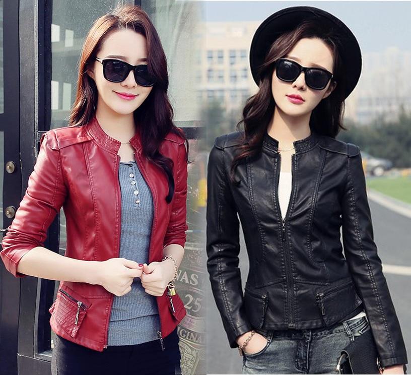 QMGOOD Large Size Slim   Leather   Jacket Women   Leather   Autumn Coat Long Sleeve Zipper Leatherette Female Jacket Motorcycle Jacket