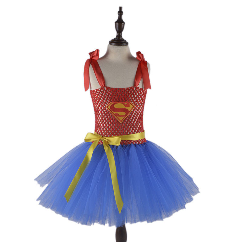 Red Blue Princess Super Hero Girl Tutu Dress Children Carnival Party Dresses Kids Cosplay Costume Supergirl Girl Dresses Summer children girl tutu dress super hero girl halloween costume kids summer tutu dress party photography girl clothing
