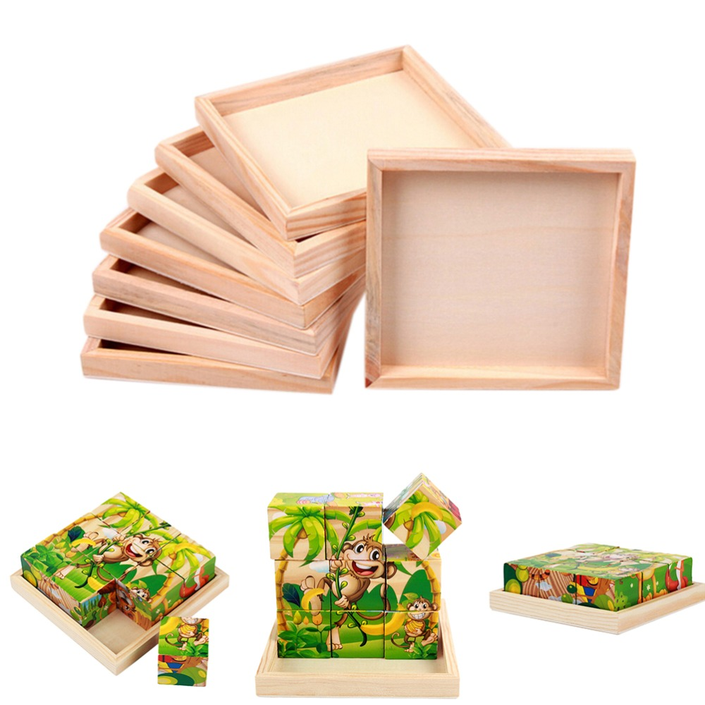 Us 103 17 Off1pc 12 Cm X 12 Cm Wooden Six Sided Painting Building Blocks Plates For Kids Wood Pallet Toys In Puzzles From Toys Hobbies On