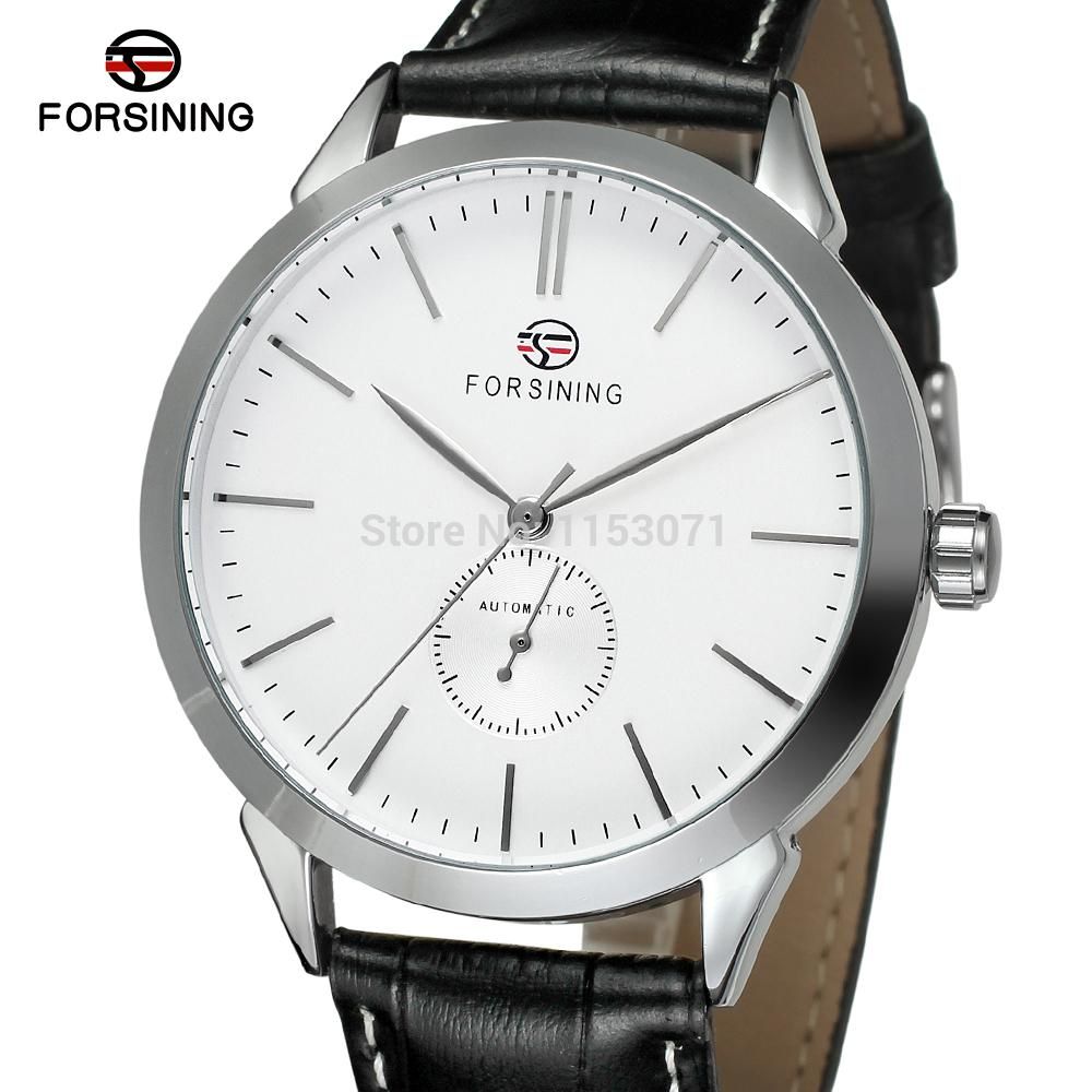 FSG8083M3S3 Forsining watch new automatic silver color round watch with black leathe strap original box for free shipping