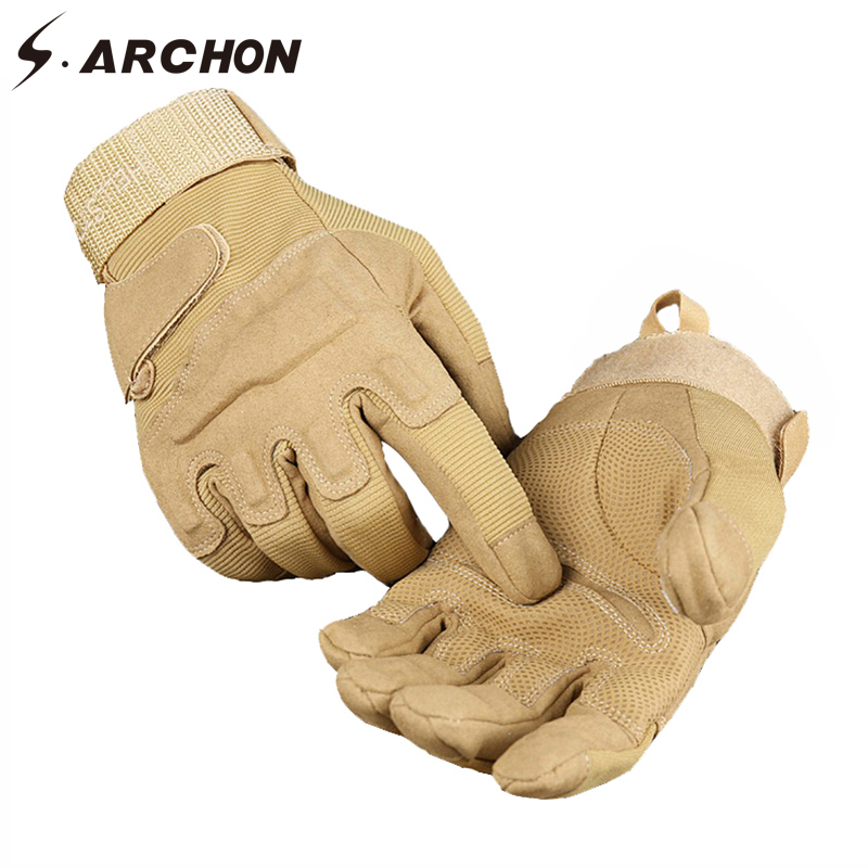 S.ARCHON Winter Tactical Full Finger Shooting Gloves Men Army Soldier Paintball Combat Mitten Male Fighting Military Gloves