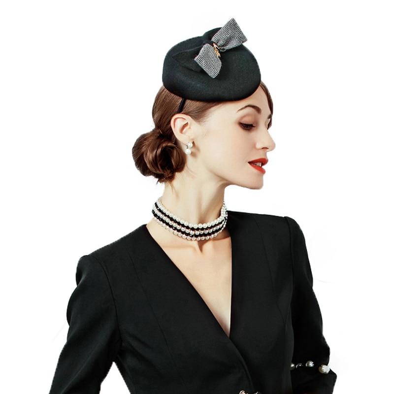 FS lana sombrero de fieltro negro mujeres cóctel fortín sombreros Vintage  Fascinator sombrero con Bowknot partido Formal de las señoras Iglesia en  Sombreros ... f5f5d7b3fcd6