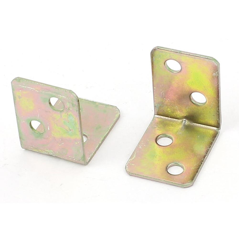 EWS-Metal Shelf Support 90 Degree Right Angle Bracket 12pcs Brass Tone