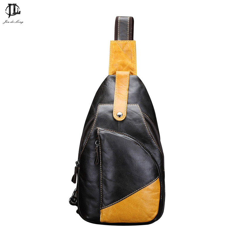 ФОТО *# New Oil Wax First Layer Genuine Leather Men Chest Pack Crossbody Shoulder Messenger Sling Bag Travel Zipper Bags