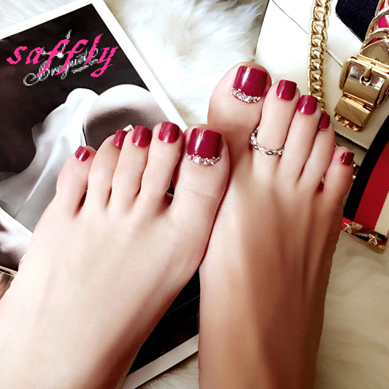 High Quality Fake Nail Patches Summer With Drill Powd Toenails 24pcs Box Fashion Red Wine Solid