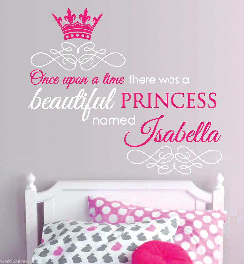 Nice 2 Color Once Upon A Time Custom Name Princess Quotes Vinyl Wall