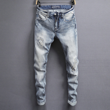 цены на American Streetwear Fashion Men Jeans Light Blue Slim Fit Elastic Denim Pants hombre Ripped Jeans For Men Hip Hop Jeans homme  в интернет-магазинах