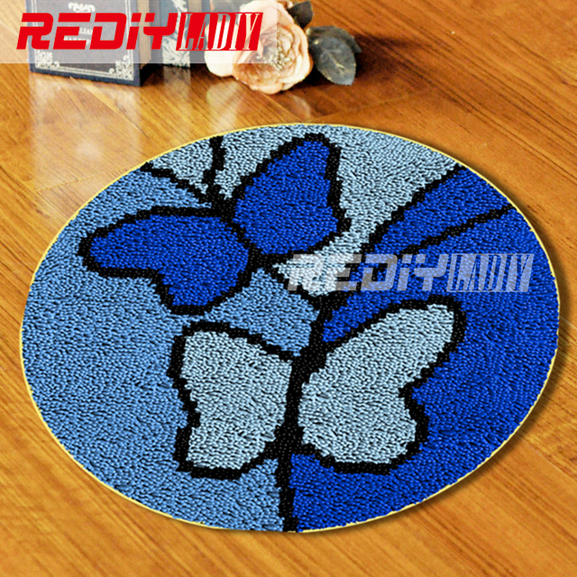 Tapete do Gancho da trava Crochê Sofá Tapeçaria Decor Almofada Set para Bordados DIY Tapete Tapete para Casa Decoração Borboleta Azul Chão mat