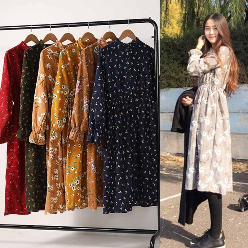 Dresses Autumn Dress Women 2018 Cotton Plus Size Long Sleeve Corduroy Shirt Floral White Winter Mori Elegant Vintage Party Dress