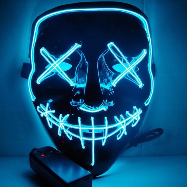 Led Maska Halloween Party Maska maski na maskaradę Neon Maska lampa w ciemności tusz do rzęs Horror Maska świecące Maska oczyszczania tanie i dobre opinie PROFESJONALNOŚCIĄ Całą twarz led mask-MJ001 Dorosłych Size 21 x 17 x 8cm masquerade masks Blue Rose Red White Purple Red Yellow Ice-Blue