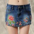 2017 летом женская национальная ветер юбка шорты вышитые джинсы шорты бад юбка шорты женская мода юбка шорты